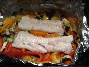 cooked cod and veg