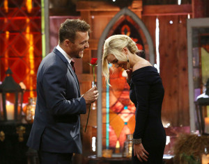 Chris and Whitney post their fairy tale engagement in The Soules Family Barn on The Bachelor Finale.