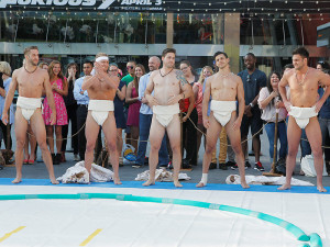 The boys get ready for their sumo challenge on this week's episode of The Bachelorette
