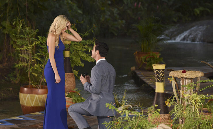 Ben gets down on one knee to propose to Lauren B. in the actually dramatic finale of The Bachelor.